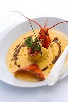 France, Savoie, Les Menuires, Reberty village, lobster and pumpkin soup, David Archinard and Eric Pszonka´s recipe of Le K Restaurant in Kaya chalet h...