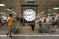Spain, Catalonia, Barcelona, clock in the subway
