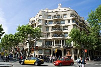 Spain, Catalonia, Barcelona, Pedrera or Casa Mila, 1905_1910 by architect Antoni Gaudi listed as World Heritage by UNESCO