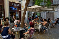 Spain, Catalonia, Barcelona, Raval district, Placa del Bonsucces, cafe terrace