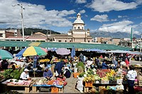 Ecuador, Imbabura Province, Otavalo, one of the most famous markets of Latin America where vegetables, fruits and crafts can be bought