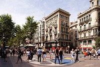 Spain, Catalonia, Barcelona, Las Ramblas and Joan Miro´s mosaic
