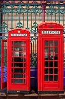 United Kingdom, London, Central Markets Smithfield, telephone boxes