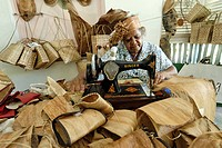 Seychelles, Mahe Island, Val des Pres Handicraft, workshop of bags and hats made with coconut fibre