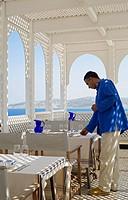 Morocco, Tangier Tetouan Region, Tangier, Kasbah, Nord_Pinus Tanger Hotel, outdoor restaurant