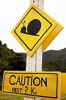 Giant snail crossing road sign, Punakaiki, West Coast, New Zealand
