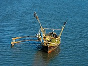 Fishing Motor boat in water at Sakhartar  Ratnagiri, Maharashtra, India