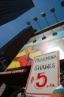 New York City (USA): a Pashmina shawls stall in the Broadway&#8217;s theaters area