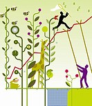 Man supporting line graph through nature with co_worker ascending line