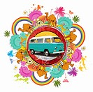 Camper van surrounded by exotic images of India