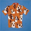 Leisure shirt with dog pattern