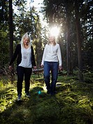 Two women in the forest Sweden.