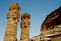 Pillars of the temple of Amun at the foot of Jebel Barkal near Karima town, Northern State, Nubia, Sudan