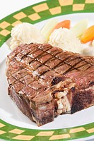 Close_up of steak and mashed potatoes