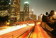 Freeway traffic, Downtown Los Angeles, California, USA
