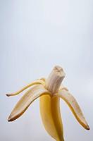 Close_up of an eaten banana