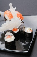 Close_up of assorted sushi on a platter