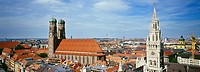 Panoramic view of Munich cathedral and Town Hall, Munich, Bavaria, Germany