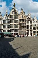 Belgium, Antwerp  Grote Markt, Restored Guildhouses