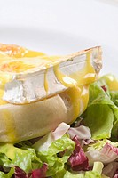 Close_up of an open sandwich on a lettuce salad