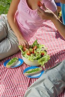 Close_up of couple having picnic, eating salad