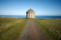 Mussenden Temple sited on the edge of a cliff a few hundred feet above the Atlantic ocean Located at the Downhill Estate, Northern Ireland