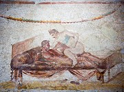 Sex position pictures showing offerings in the Lupanare prostitutes quarters, Pompeii, Campania, Italy