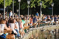 Large group of people in Seehaus beer garden, English Garden, Munich (thumbnail)