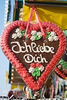 Red Gingerbread heart with I love You, at Oktoberfest, Munich, Germany (thumbnail)