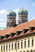 Towers of Frauenkirche, Munich, Bavaria, Germany (thumbnail)