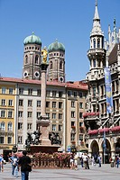 Marienplatz and Frauenkirche church towers, Munich, Bavaria, Germany