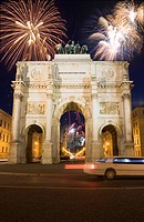 Siegestor at New Year, Munich, Bavaria, Germany