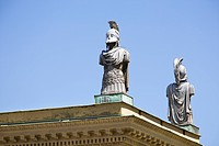 Bronze statues on wall of Hofgarten, Munich, Bavaria, Germany