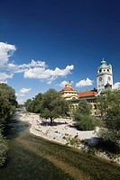 River Iasr and Muellersches swimming pool Munich, Bavaria, Germany