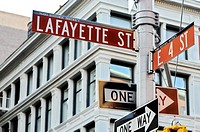 Street signs, Layfayette and East 4th, NOHO HIstoric District, New York City