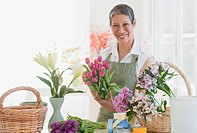 Chinese florist arranging flowers