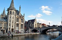 Belgium, Flanders, Ghent, Houses and Leie River