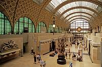 France, Paris, Musee D'Orsay art museum, main floor, clock, houses Europe's greatest collection of Impressionist works, formerly the Orlean railway st...