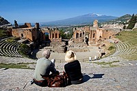 Italy, Sicily, Taormina, Greek theatre