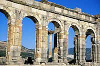 Morocco, Volubilis, archeological site listed as World Heritage by UNESCO