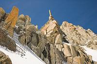Summit tower at the top of the Aiguille Du Mid. Chamonix. Mont Blanc Massif. France.