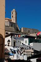 Panoramic View with Cathedral of Old Town, Ibiza, Baleares Islands, Spain