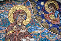 Virgin Mary, modern mosaic, Russian Orthodox church, Moscow region, Russia