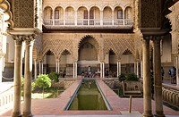 Spain, Andalusia, Seville, Real Alcazar listed as World Heritage by UNESCO, Patio de las Doncellas