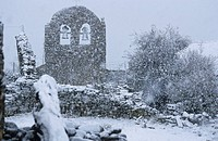 Spain, Castile_Leon, Foncebadon, church in a snowstorm, stop on the Route of Compostela Camino Frances listed as World Heritage by UNESCO