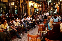 Egypt, Cairo, downtown, inside Khan El Khalili souk, the Fishawi cafe