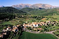 France, Alpes de Haute Provence, Verdon Regional Natural Park, La Palud sur Verdon aerial view