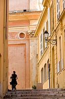 France, Alpes Maritimes, Menton, Rue de la Conception Conception street et la Basilique Saint Michel Saint Michael basilica