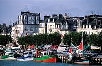 France, Calvados, Pays d´Auge, Trouville, fishing boats in the harbour