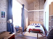 France, Charente Maritime, Ile de Re, Ars en Re village, labelled Les Plus Beaux Villages de France The Most Beautiful Villages of France, bedroom of ...